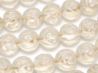 天然石卸 シャンパンカラー クォーツ ラウンドローズ(薔薇)カット12mm 半連/1連(約36cm)