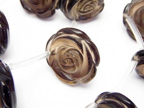 スモーキークォーツAAA 薔薇20mm 1/4連〜1連(約38cm)