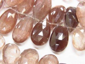 天然石卸 宝石質スキャポライトAAA ペアシェイプ ブリオレットカット 半連/1連(約18cm) NO.1