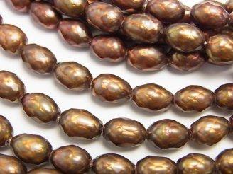 天然石卸 1連1,280円!カット入り淡水真珠 ライス9×7×7 ブラウン 【1mm穴】 1連(約35cm)