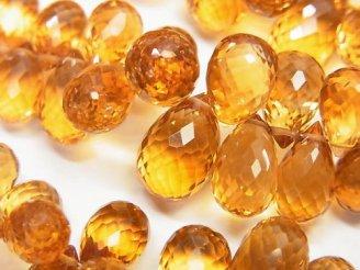 天然石卸 宝石質ブランデーシトリンAAA ドロップ ブリオレットカット 1/4連〜/1連(約20cm)