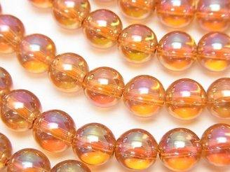 天然石卸 オレンジフラッシュクリスタル ラウンド8mm 半連/1連(約38cm)