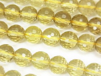 天然石卸 スモーキーレモンクォーツAAA 128面ラウンドカット8mm 半連/1連(約36cm)