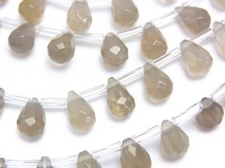天然石卸 グレーオニキスAAA ドロップ ブリオレットカット9×6×6 半連/1連(約37cm)