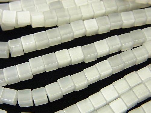 ホワイトカラーキャッツアイ キューブ4×4×4mm 1連(約37cm)