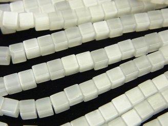 天然石卸 1連480円!ホワイトカラーキャッツアイ キューブ4×4×4mm 1連(約37cm)