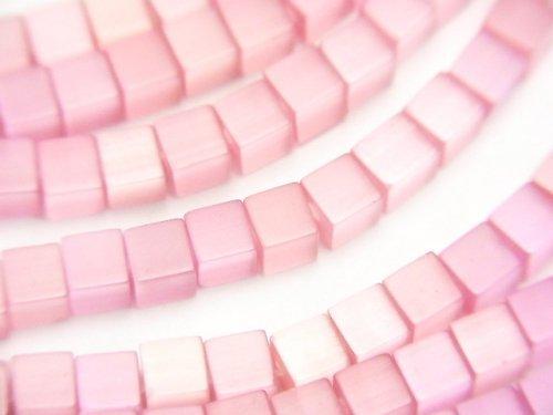 ピンクカラーキャッツアイ キューブ4×4×4mm 1連(約37cm)