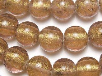 天然石卸 1連680円!とんぼ玉 ラウンド12mm 【金粉×ライトパープル】 1連(約20cm)