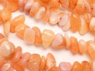 天然石卸 1連580円!ボツワナ産オレンジカルセドニーAA チップ(ミニタンブル) 1連(約38cm)