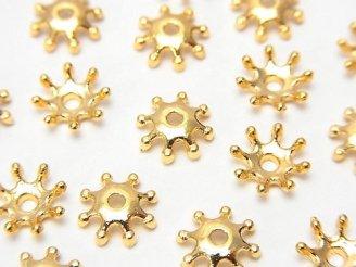 天然石卸 メタルパーツ ビーズキャップ8×8×2mm ゴールドカラー 10個180円!