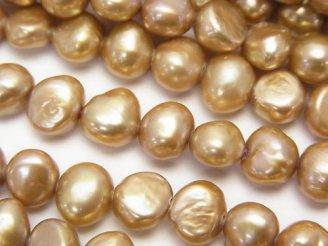 天然石卸 1連480円!淡水真珠AA ポテト〜バロック7〜8mm ゴールド 1連(約34cm)
