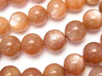 天然石卸 オレンジムーンストーンAAA-〜AA++ ラウンド10mm 半連/1連(約36cm)
