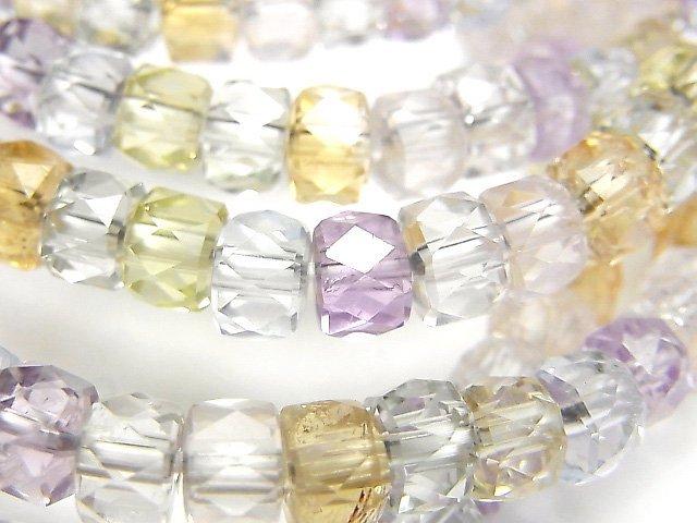 宝石質いろんな天然石AAA ボタンカット6×6×4mm 1連(ブレス)