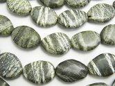 天然石卸 1連980円!ブラジル産サーペンティン フラットタンブル 【Sサイズ】 1連(約38cm)