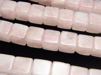 天然石卸 ローズクォーツAA++ キューブ8×8×8 半連/1連(約38cm)