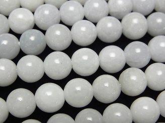 天然石卸 ビルマ産ホワイトジェダイト(翡翠)AA+ ラウンド8mm 半連/1連(約38cm)