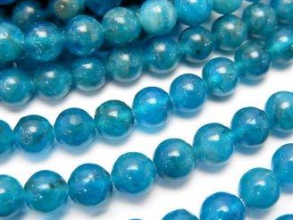 天然石卸 マダガスカル産ブルーアパタイトAAA ラウンド6mm 半連/1連(約36cm)