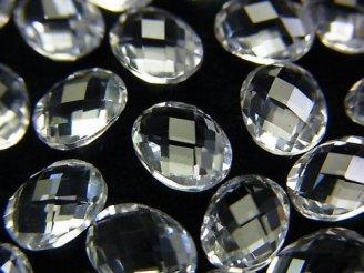 天然石卸 素晴らしい輝き!宝石質クリスタルAAA 穴なしオーバルカット8×6×4 5粒880円!