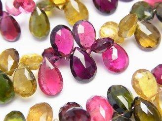 天然石卸 宝石質マルチカラートルマリンAAAA ペアシェイプ ブリオレットカット 1/4連〜1連(約18cm)