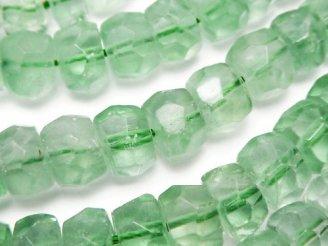 天然石卸 グリーンフローライトAAA-〜AA++ タンブル〜ボタンカット 半連/1連(約38cm)