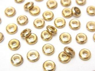 天然石卸 100粒120円!ブラス(真鍮) ロンデル4×4×1.5mm 100粒