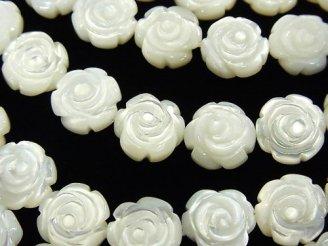 天然石卸 高品質ホワイトシェル 薔薇彫刻(両面仕上げ)10×10×5 1/4連〜1連(約38cm)