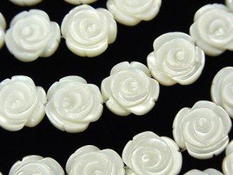 天然石卸 高品質ホワイトシェル 薔薇彫刻(両面仕上げ)12×12×5mm 1/4連〜1連(約36cm)
