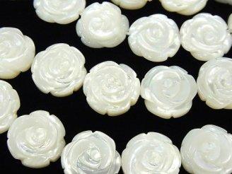 天然石卸 高品質ホワイトシェル 薔薇彫刻(両面仕上げ)15×15×4 1/4連〜1連(約36cm)