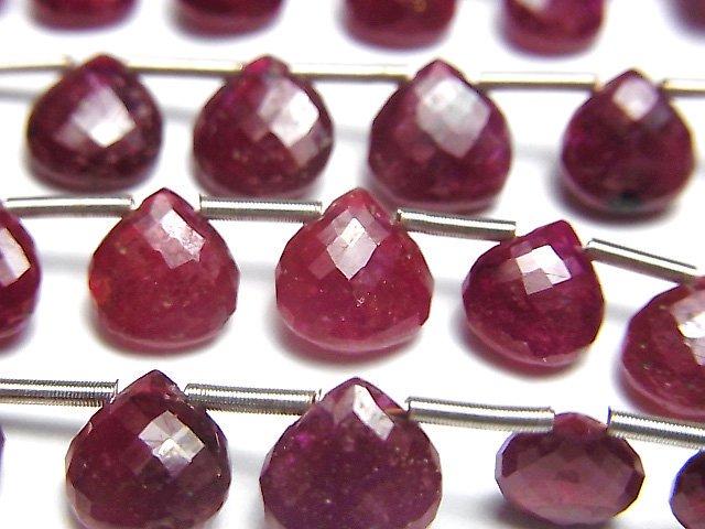 【極上カット】ロンギド産宝石質ルビーAAA マロン ブリオレットカット 1連(約6cm)
