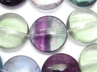 天然石卸 マルチカラー フローライトAAA-〜AA++ 大粒コイン20×20×9 半連/1連(約36cm)