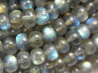 天然石卸 1連1,380円!宝石質ラブラドライトAAA ロンデル(ボタン)4〜5mm 1連(約34cm)