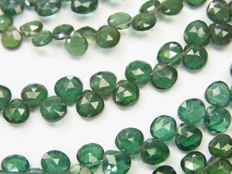 天然石卸 宝石質グリーンアパタイトAAA マロン ブリオレットカット 半連/1連(約18cm)
