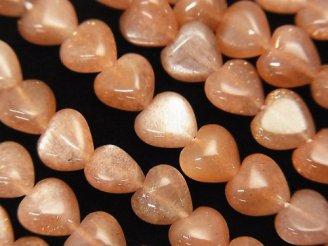 天然石卸 高品質オレンジムーンストーンAAA 縦穴ハート8×8×5 半連/1連(約18cm)