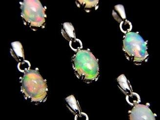 天然石卸 1個1,780円!宝石質エチオピア産オパールAAA ペンダントトップ7×5×6 SV925製 1個