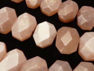天然石卸 ピーチムーンストーンAA フラットタンブルカット16×12×8 半連/1連(約38cm)