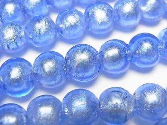 天然石卸 1連680円!とんぼ玉 ラウンド10mm 【銀箔×ブルー】 1連(約27cm)