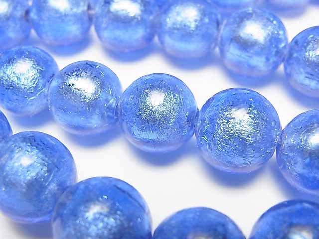 とんぼ玉 ラウンド12mm 【銀箔×ブルー】 1連(約26cm)