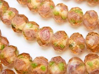 天然石卸 とんぼ玉 ボタンカット10×10×7mm 薔薇(ローズ)模様入り 【オレンジ】 半連/1連(約34cm)