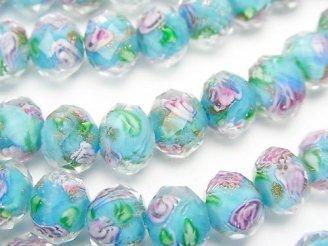 天然石卸 とんぼ玉 ボタンカット10×10×7 薔薇(ローズ)模様入り 【ブルー】 半連/1連(約34cm)