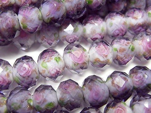とんぼ玉 ボタンカット10×10×7mm 薔薇(ローズ)模様入り 【パープル】 半連/1連(約34cm)