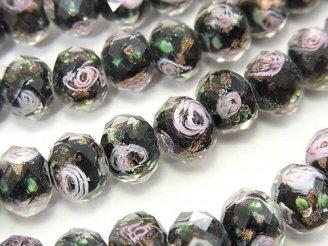 天然石卸 とんぼ玉 ボタンカット10×10×7mm 薔薇(ローズ)模様入り 【ブラック】 半連/1連(約34cm)