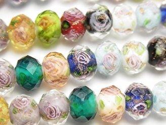 天然石卸 とんぼ玉 ボタンカット10×10×7 薔薇(ローズ)模様入り 【マルチカラー】 半連/1連(約35cm)
