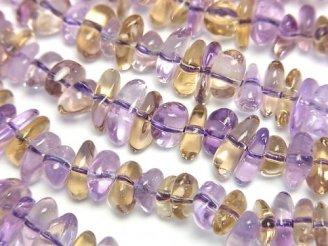 天然石卸 1連1,380円!宝石質ピンクアメジスト×シトリンAAA〜AAA- チップ(ミニタンブル) 1連(約38cm)