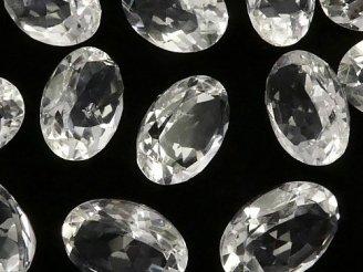 天然石卸 粒売り!宝石質クリスタルAAA 穴なし オーバルファセットカット14×10×6 3粒980円!
