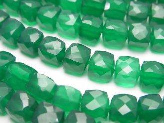 天然石卸 宝石質グリーンオニキスAAA キューブカット 半連/1連(約18cm)