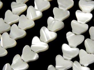 天然石卸 1連680円!マザーオブパール バタフライ(蝶)モチーフ9×7×2 ホワイト 1連(約34cm)