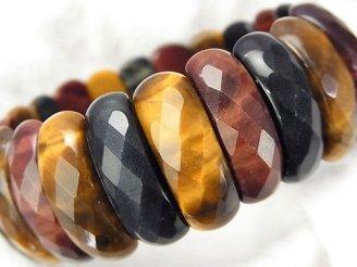 天然石卸 1連1,980円!タイガーアイAA++ 3色ミックス 2つ穴縦長オーバルカット25×9×8 1連(ブレス)