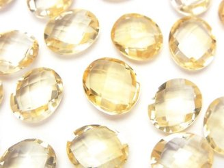 天然石卸 宝石質シトリンAAA 穴なしオーバルカット11×9×5 4粒780円!