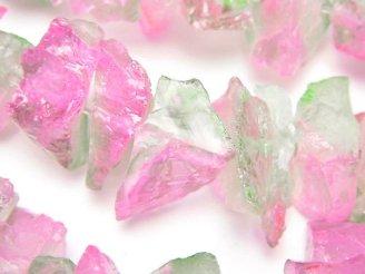 天然石卸 1連1,180円!クリスタル 大粒ラフロックタンブル メタリックコーティング ピンク&グリーン系 1連(約36cm)