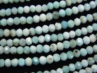 天然石卸 素晴らしい輝き!ラリマーAA ボタンカット3×3×2 半連/1連(約38cm)